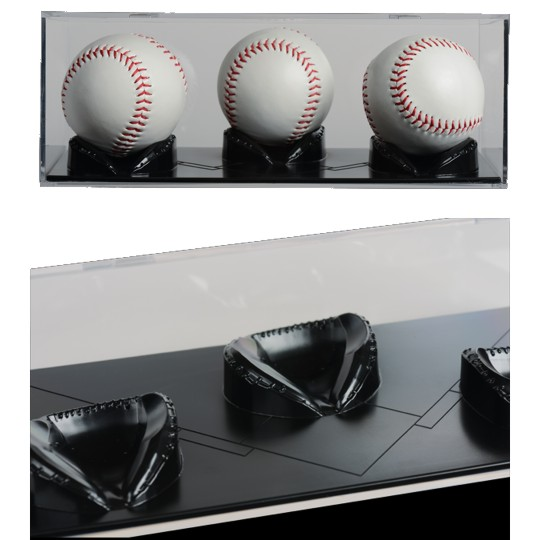 Triple Play 3 Ball Baseball Display Case