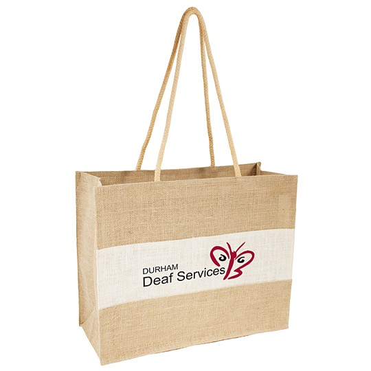 1135 - White and natural jute shopper bag with long handles