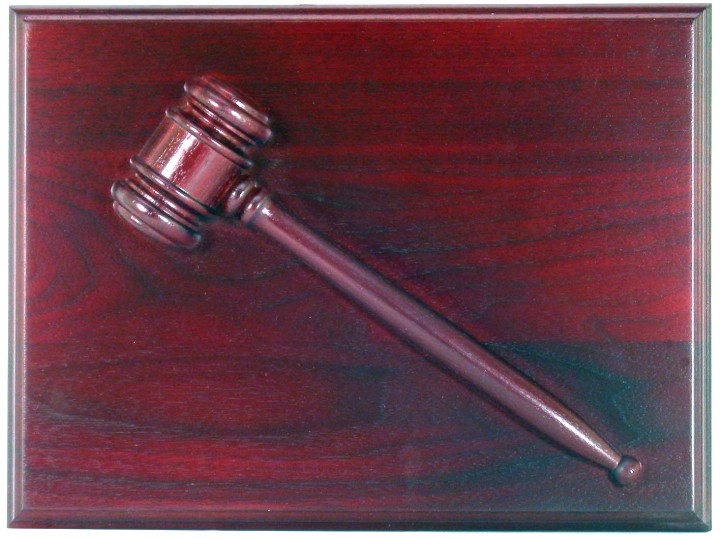 Rosewood or Walnut gavel plaque