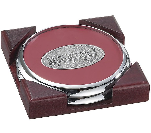 Solid Chrome Coasters in Cherry Box